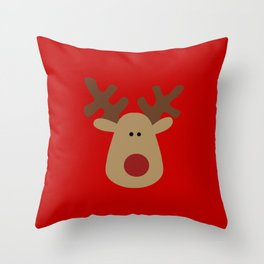 Christmas Reindeer-Red Throw Pillow