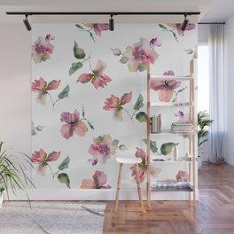Watercolor roses. Delicate pink flowers. Wall Mural