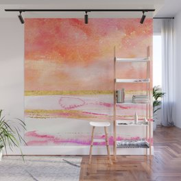 Coral, Gold And Pink Abstract Watercolor Art Wall Mural