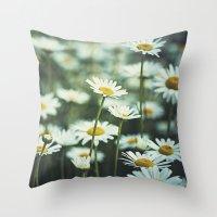 daisies Throw Pillows featuring daisies by Bonnie Jakobsen-Martin