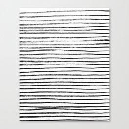 Black Brush Lines on White Canvas Print