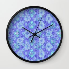 Lotus flower - pool blue woodblock print style pattern Wall Clock