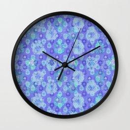 Lotus flower - pool blue woodblock print style pattern Wall Clock