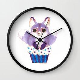Purple Two Tailed Fox Cupcake Wall Clock