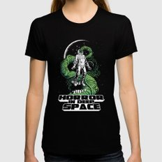 Horror In Deep Space SMALL Black Womens Fitted Tee