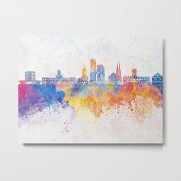 Gdynia skyline in watercolor background Metal Print