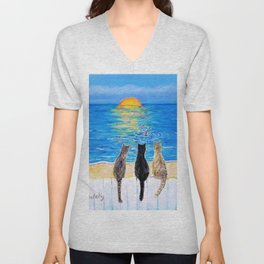 Cat Beach Sunset 2 Unisex V-Neck