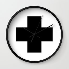 Black Swiss Cross Wall Clock