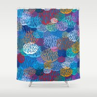 coral Shower Curtains featuring Coral by Helene Michau