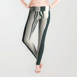 Night Watch Color of the Year PPG1145-7 Thick and Thin Vertical Stripes on Horseradish Off White Leggings