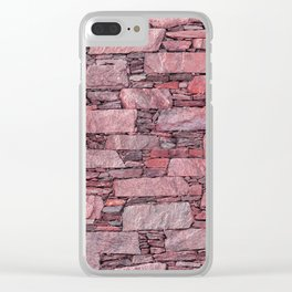 Rose terrazzo wall with shale stones Clear iPhone Case