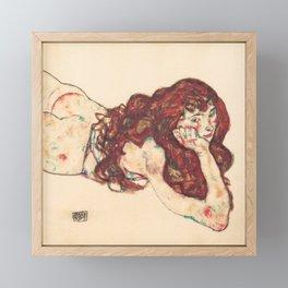 """Egon Schiele """"Auf dem Bauch liegender weiblicher Akt"""" Framed Mini Art Print"""