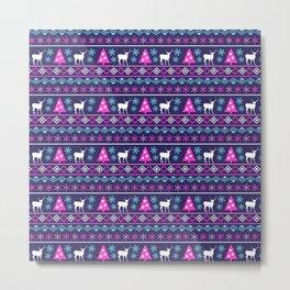 Blue, Pink & Purple Nordic Pattern  Metal Print