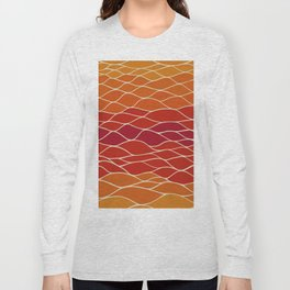 Orange and Red Waves Long Sleeve T-shirt