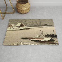 Canal in Snow - Vintage Japanese Woodblock Rug