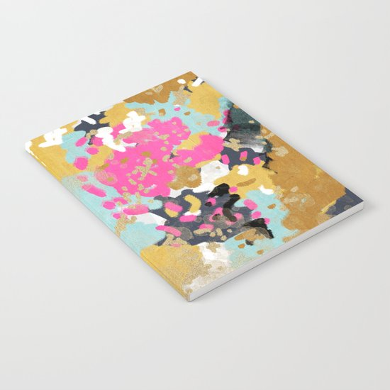 Laurel - Abstract painting in a free style with bold colors gold, navy, pink, blush, white, turquois Notebook