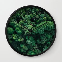 Trees from above | Forest fine art photography | Aerial drone photo print Wall Clock