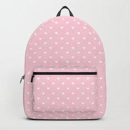 White Polka Dot Hearts on Light Soft Pastel Pink Backpack