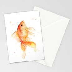 Goldfish Watercolor Fish Stationery Cards
