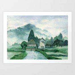 Japanese Village , After Rain ,  Art Watercolor Painting print by Suisai Genki  Art Print