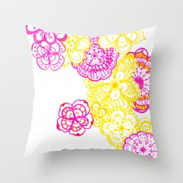 28. Colourful Pink and Yellow Flower in Henna World Throw Pillow