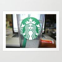 starbucks Art Prints featuring STARBUCKS by Marco ☁ Gasperi