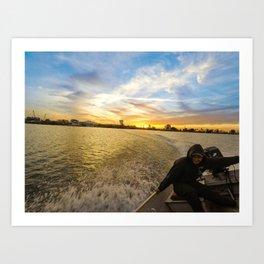 fishing on the california delta Art Print
