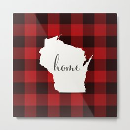 Wisconsin is Home - Buffalo Check Plaid Metal Print