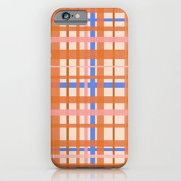 Retro Plaid Pattern in Orange, Pink, and Blue iPhone Case