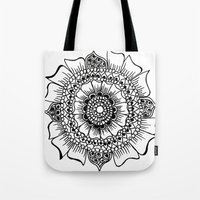 henna Tote Bags featuring Flower henna  by Designs by NN