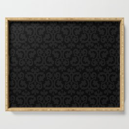 Black and Dark Grey Damask Pattern Serving Tray