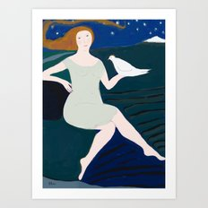 Lady with White Bird Art Print