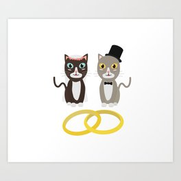 Wedding Cats with Rings Art Print