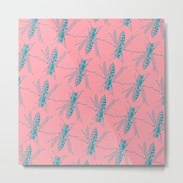 Beezer on pink pattern Metal Print