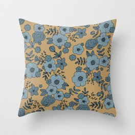 Romantic English Botanical flower Garden cinnamon blue Throw Pillow
