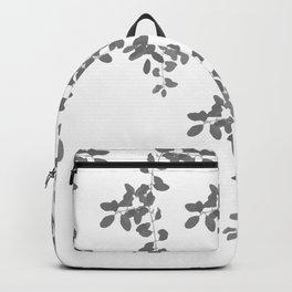 Grey Leaves pattern. grey. white. leaves. Backpack