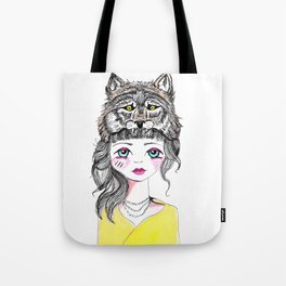 Wolf girl colour Tote Bag