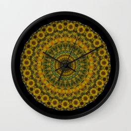 Sunflower Mandala Wall Clock