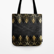 Simply elegance - Gold and black ornamental lace on black paper Tote Bag