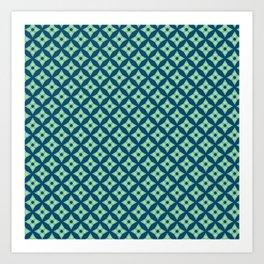 green&blue star pattern Art Print