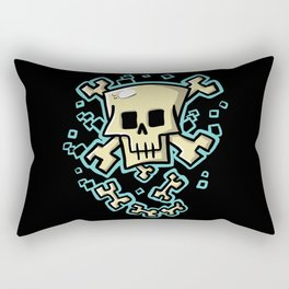 Toxic skull and crossbones blue Rectangular Pillow