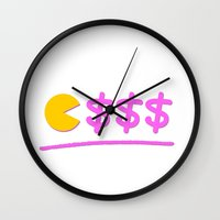 pacman Wall Clocks featuring Pacman by Isac