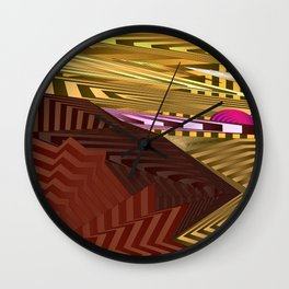 Striped landscap with stylised mountains, sea and pink Sun. Wall Clock