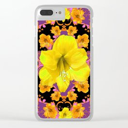 TROPICAL YELLOW & GOLD AMARYLLIS FLOWERS PATTERN ON Clear iPhone Case
