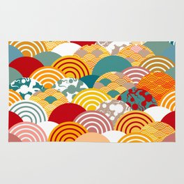 Nature background with japanese sakura flower, orange red pink Cherry, wave circle pattern Rug