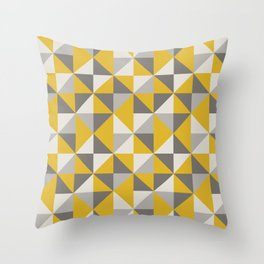 Retro Triangle Pattern in Yellow and Grey Throw Pillow