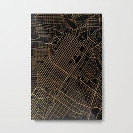 Black and gold Houston map Metal Print
