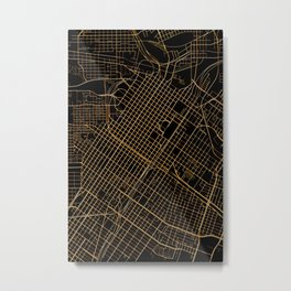 Black and gold Houston map Metal Print