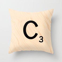 Scrabble Tile C - Large Scrabble Letters Throw Pillow