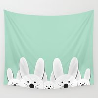 bunnies Wall Tapestries featuring Spying Bunnies by General Design Studio